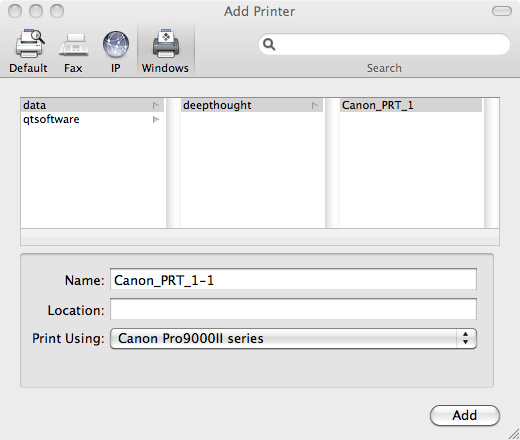 Mac OS/X Add Printer Dialog - Canon Pixma Pro9000 Mark II